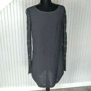Adrianna Pappel Dress With Lace Sleeve Black Sz 8
